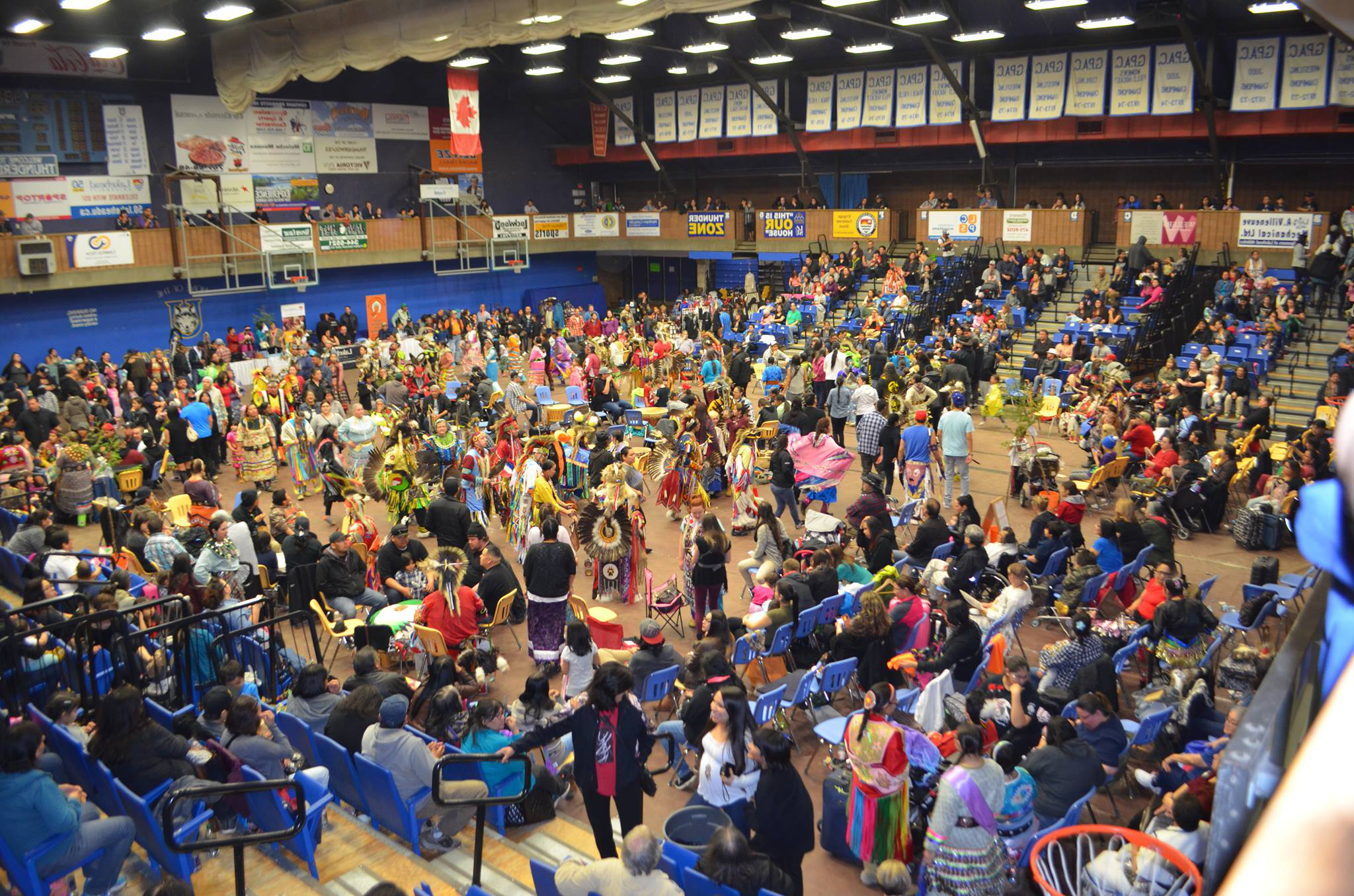 large crowd of dancers at LUNSA pow wow