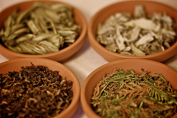 four traditional medicines in bowls